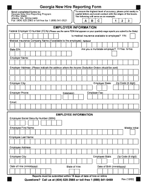 Fillable Online Georgia OCR New Hire Reporting Form.doc Fax Email ...