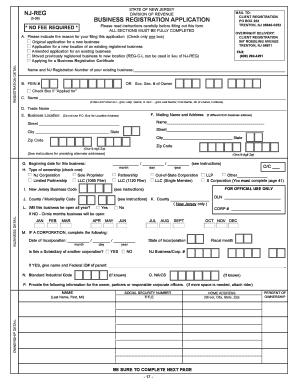 Fillable Online NJ REG NJ Business Entity and Tax Registration ...