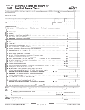 2005 California Income Tax Return for Qualified Funeral Trusts. Form 541-QFT