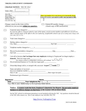 Fillable Online CHANGE NOTICE VEC FC-20-C Fax Email Print - PDFfiller