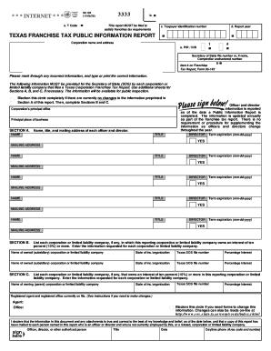 Fillable Online 05-102 Texas Franchise Public Information Report ...