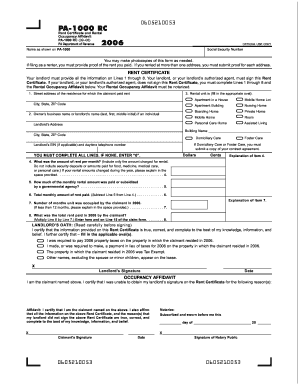 Fillable Online 2006 Rent Certificate and Rental Occupancy ...