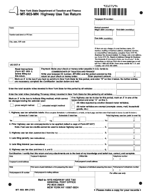 Fillable Online Form Mt 903 Mn 7 07 Highway Use Tax Return Mt903mn