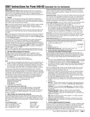 Fillable Online 540esins - 2007 Instructions for Form 540-ES. 2007 ...
