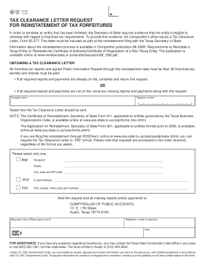 Fillable Online 05 391 Tax Clearance Letter Request for