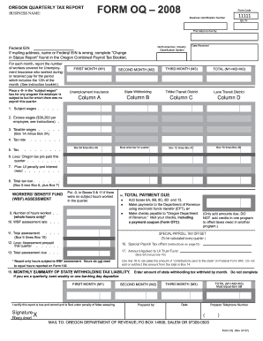 Fillable Online Oregon Quarterly Tax Report Fax Email Print Pdffiller
