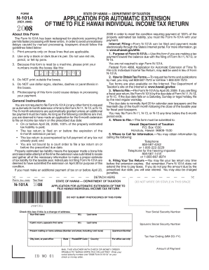 Form N-101A, Rev. 2008, Application for Automatic Extension of Time to File Hawaii Individual Income Tax Return. Forms 2008 - Web Fillable