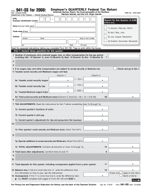 Fillable Online Form 941 Ss Rev October 2008 Employer S