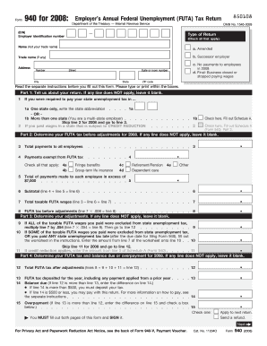 Fillable Online 2008 Form 940 Employer S Annual Federal