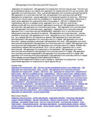 Fillable Online zopjv Z83 Application Form Word Document PDF