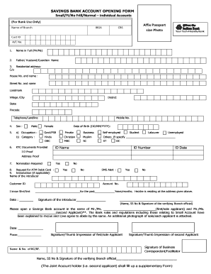 state bank of india savings account opening form download