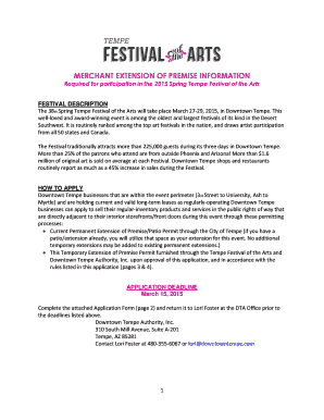 Required for participation in the 2015 Spring Tempe Festival of the Arts