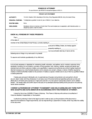Fillable Online apd army Power of Attorney. DA Form 5841, Sep 2009 ...