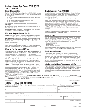 Fillable Online 2010 Form 3522 Llc Tax Voucher 2010 California