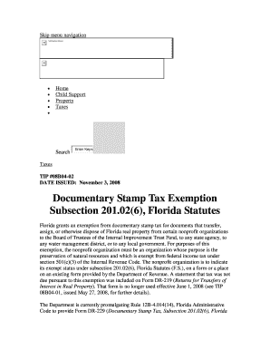 Florida Documentary Stamp Tax Exemptions