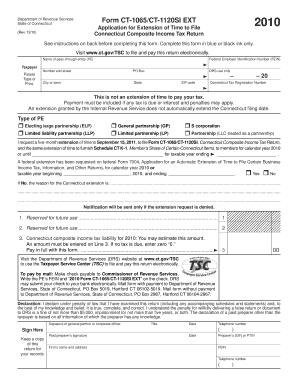 form 1065 extension  Fillable Online CT-11/CT-11SI EXT, Application for ...