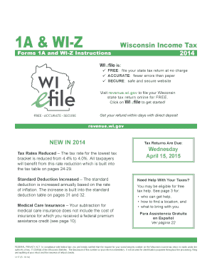 Fillable online revenue wi 1996 form 1a & wi-z instructions.