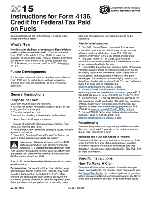 Fillable Online 2017 Instructions For Form 4136 Credit Federal Tax Paid On Fuels Fax