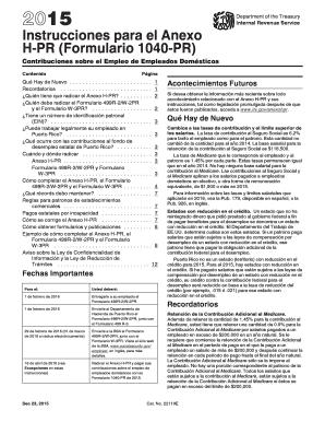 1040 pr 2015 Fillable Online 2015 Instrucciones para el Anexo H-PR (Formulario ...