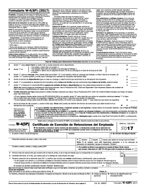 Fillable Online 2017 Form W-4(SP). Employee's Withholding ...