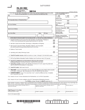 Fillable Online 2016 PA-40 NRC - Nonresident Consolidated Income ...