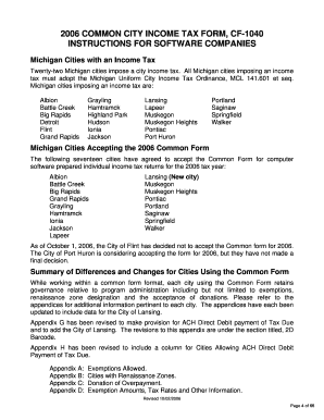 Fillable Online 2006 COMMON CITY INCOME TAX FORM, CF-1040 Fax ...