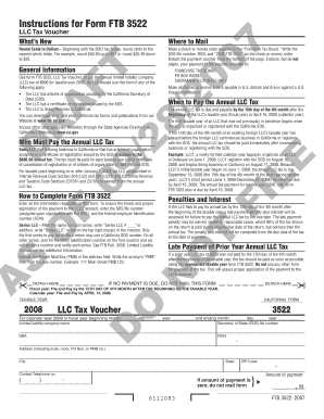 Fillable Online 2008 Draft Form 3522 Llc Tax Voucher 2008 Draft