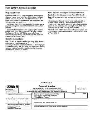 Fillable Online Form 2290-V, Payment Voucher Fax Email Print