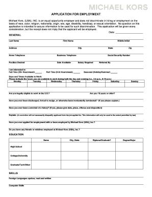 fillable online michael kors job application form job application