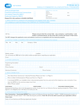 Fillable Online ESB Form NC3 - esbnetworks.ie Fax Email Print ...