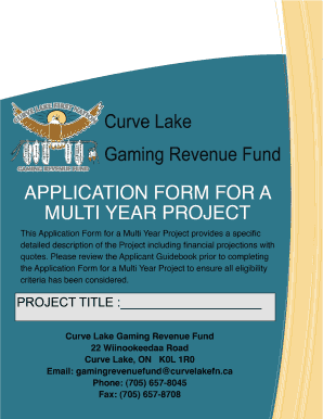 CURVE LAKE GAMING REVENUE FUND APPLICATION FORM