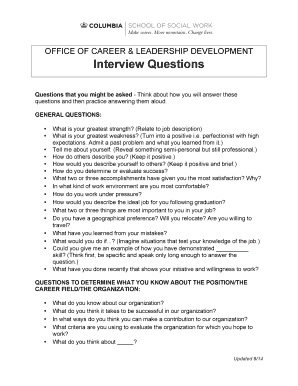 Interview Questions Columbia University School Of Social Work