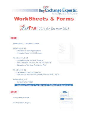 Fillable Online WorkSheets & Forms - 1031 Exchange Experts Fax ...