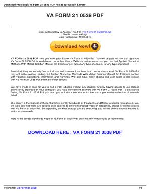 Fillable Online Askforevidence Va Form 21 0538 Download Read Pdf