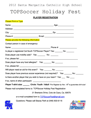 Fillable Online Registration Form - Cal South Fax Email Print ...