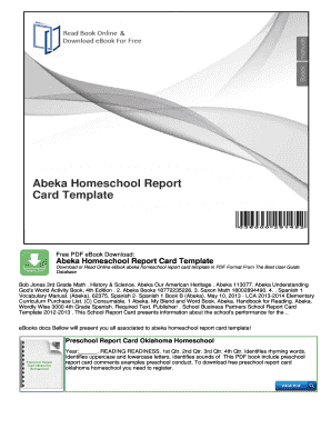 Fillable Online Abeka Homeschool Report Card Template Fax Email