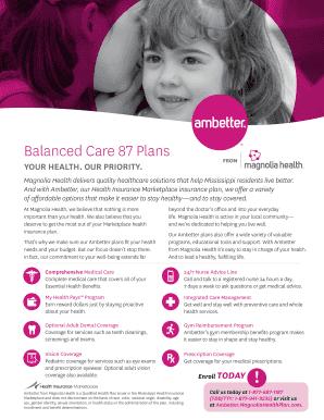 Fillable Online Ambetter Balanced Care 87 Brochure Balanced Care 87