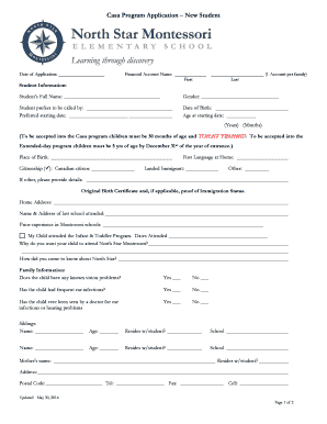 Fillable online northstarmontessori application form north star rate this form thecheapjerseys Gallery