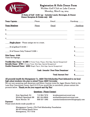 Registration & Hole Donor Form