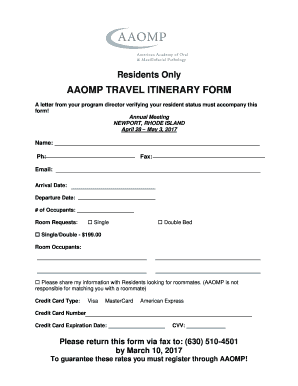fillable online aaomp aaomp travel itinerary form aaomp fax email