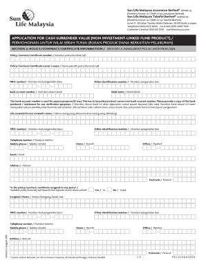 Sun Life Malaysia Surrender Form - Fill Online, Printable ...