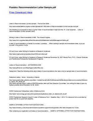 Fillable Online Postdoc Recommendation Letter Sample Fax