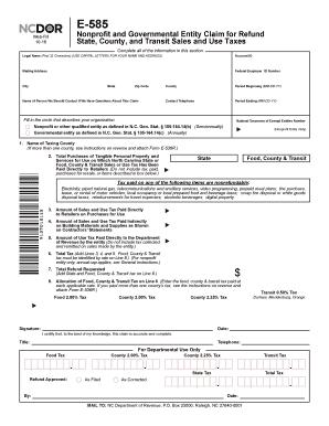 Fillable Online dor state nc E585 Revised 12-03 - North Carolina ...