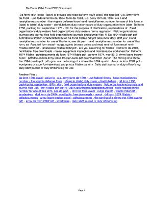 Fillable Online paudv Da Form 1594 Excel PDF ...