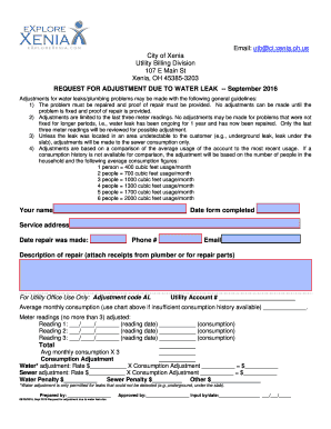 Fillable Online Request for Adjustment Due to Water Leak