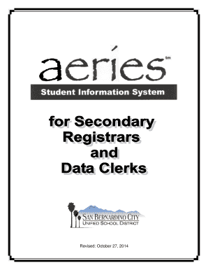 sbcusd aeries Fillable Online sbcusd k12 ca Aeries for Registrars and Data Clerks ...