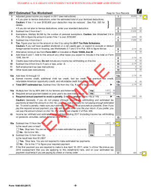 Fillable Online 2017 Form 1040-ES. Form 1040-ES, Estimated Tax for ...