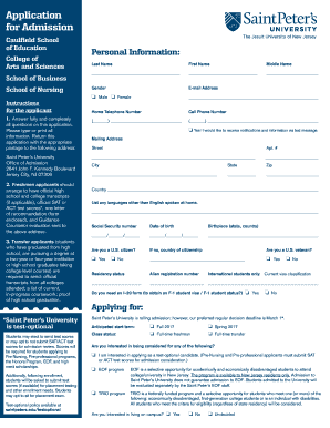 Application for Admission - saintpeters.edu