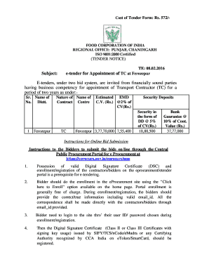 Fillable Online Subject: e-tender for Appointment of TC at