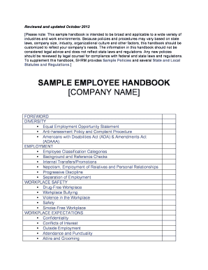 Download Employee Handbook Templates With Sample PDF RTF Fill - Employee handbook template illinois